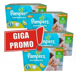 Maxi giga pack 330 Couches Pampers New Baby Dry taille 2