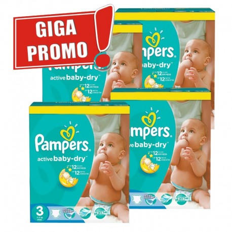 Pack jumeaux 748 Couches Pampers Active Baby Dry taille 3 sur 123 Couches