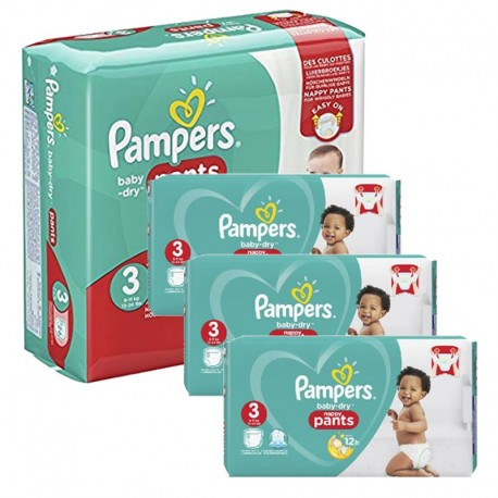 Pack 78 Couches Pampers Baby Dry Pants taille 3 sur 123 Couches