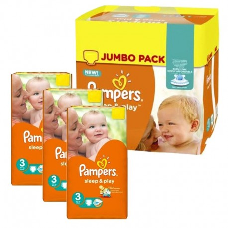 Pack jumeaux 574 Couches Pampers Sleep & Play taille 3 sur 123 Couches