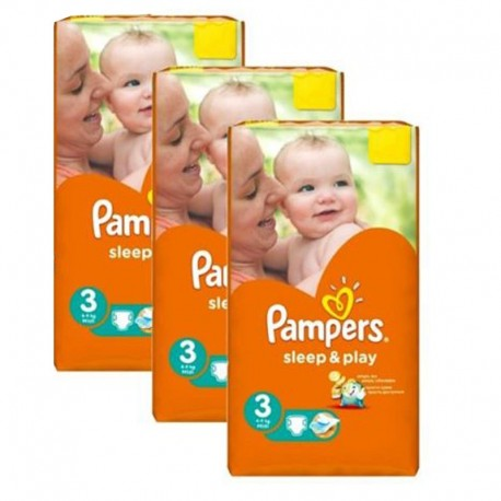 Pack jumeaux 738 Couches Pampers Sleep & Play taille 3 sur 123 Couches