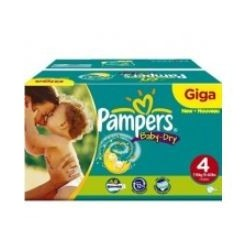 Pack jumeaux 858 Couches Pampers Baby Dry taille 4 sur 123 Couches