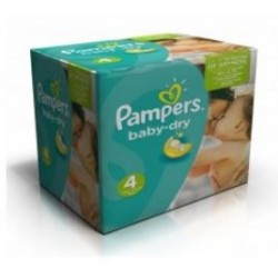 Pack jumeaux 936 Couches Pampers Baby Dry taille 4 sur 123 Couches