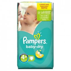 Pack 42 Couches Pampers de la gamme Baby Dry de taille 4+ sur 123 Couches