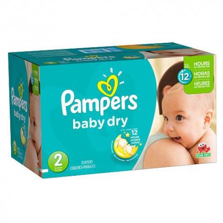 Pack économique 396 Couches de la marque Pampers Baby Dry taille 2 sur 123 Couches