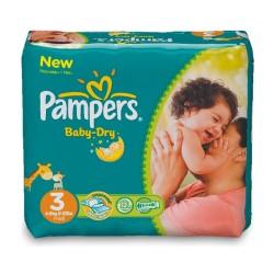 Pack de 68 Couches Pampers de la gamme Baby Dry de taille 3 sur 123 Couches