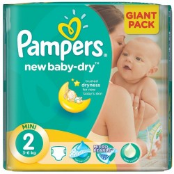 Pack 80 Couches de Pampers New Baby Dry taille 2 sur 123 Couches