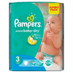 Pack 132 Couches Pampers Active Baby Dry taille 3 sur 123 Couches