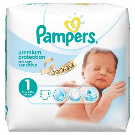 Pack 39 Couches Pampers de la gamme New Baby Sensitive taille 1 sur 123 Couches
