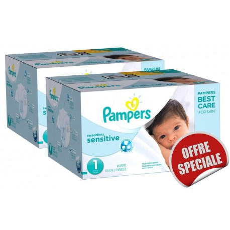 Maxi Giga Pack Jumeaux 507 Couches de la marque Pampers New Baby Sensitive taille 1 sur 123 Couches
