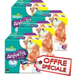 Maxi Giga Pack Jumeaux 615 Couches Pampers Active Fit taille 3
