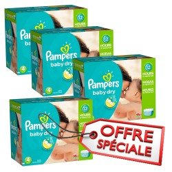 Maxi Giga Pack Jumeaux de 920 Couches Pampers Baby Dry taille 4 sur 123 Couches