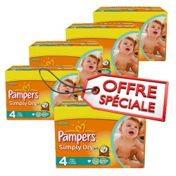 Maxi giga pack de 740 Couches de Pampers Simply Dry de taille 4 sur 123 Couches