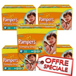 Maxi giga pack jumeaux 880 Couches Pampers de la gamme Simply Dry taille 4+ sur 123 Couches