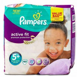 Pack 40 Couches Pampers Active Fit de taille 5+ sur 123 Couches