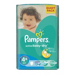 Paquet 53 Couches Pampers Active Baby Dry de taille 4+ sur 123 Couches