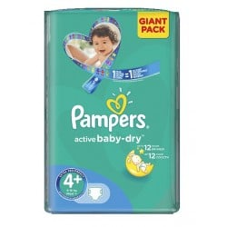 Paquet 53 Couches Pampers Active Baby Dry de taille 4+