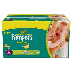Pack 336 Couches de Pampers Baby Dry de taille 3+ sur 123 Couches