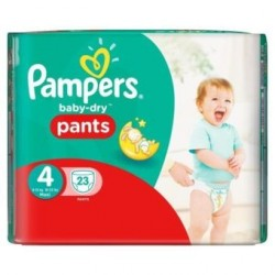 Pack 23 Couches Pampers Baby Dry Pants de taille 4 sur 123 Couches