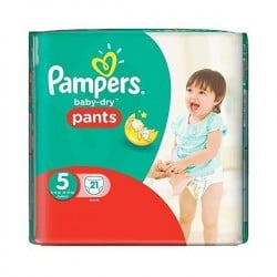 Pack 21 Couches de Pampers Baby Dry Pants de taille 5