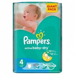 Pack de 58 Couches de la marque Pampers Active Baby Dry de taille 4