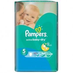 Pack d'une quantité de 58 Couches Pampers Active Baby Dry de taille 5
