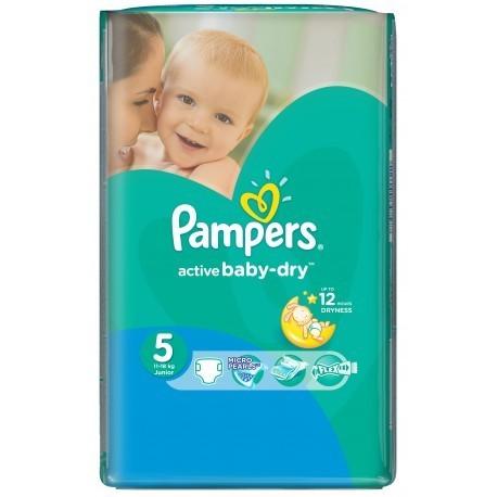 Pack d'une quantité de 58 Couches Pampers Active Baby Dry de taille 5 sur 123 Couches