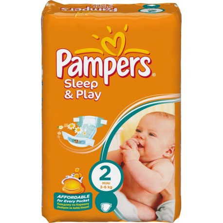 Pack 18 Couches Pampers de la gamme Sleep & Play de taille 2 sur 123 Couches