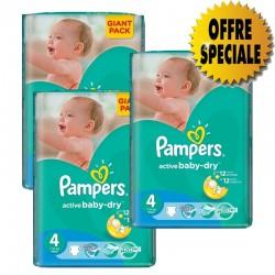 Pack économique de 522 Couches de Pampers Active Baby Dry de taille 4 sur 123 Couches