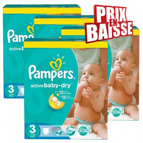 Maxi Giga Pack 444 Couches Pampers Active Baby Dry de taille 3 sur 123 Couches