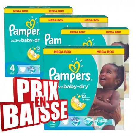 Gros pack d'une quantité de 290 Couches Pampers Active Baby Dry taille 4 sur 123 Couches