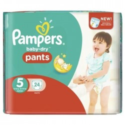 Pack 24 Couches Pampers Baby Dry Pants taille 5 sur 123 Couches