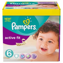 Maxi Giga Pack 124 Couches Pampers Active Fit 6 sur 123 Couches
