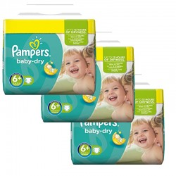Maxi Mega pack 114 Couches Pampers Baby Dry taille 6+