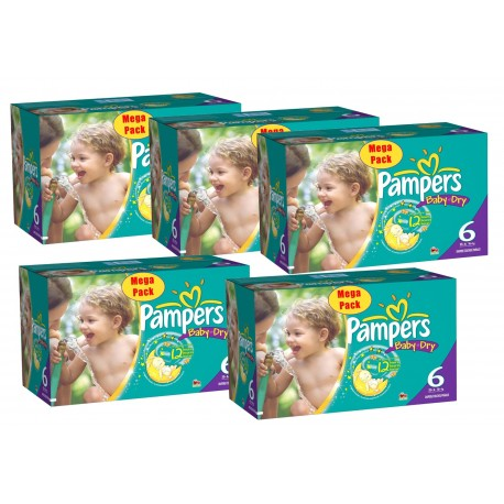 Pack économique 304 Couches Pampers Baby Dry taille 6+ sur 123 Couches