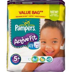 Pack d'une quantité de 42 Couches de la marque Pampers Active Fit de taille 5+ sur 123 Couches