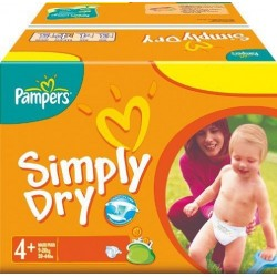 Maxi Pack 296 Couches Pampers Simply Dry taille 4+ sur 123 Couches