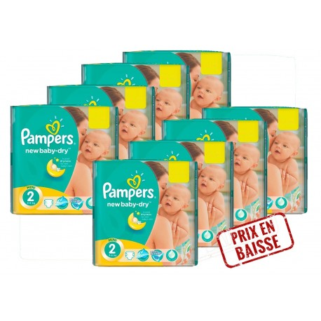 Maxi Mega pack 408 Couches Pampers New Baby Dry 2 sur 123 Couches