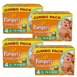 Maxi Giga Pack 294 couches Pampers Simply Dry sur 123 Couches