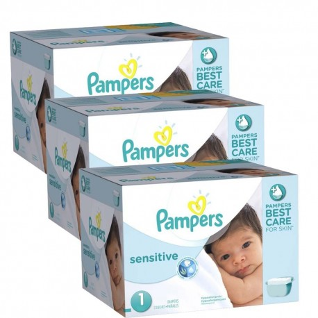 Pack économique 504 Couches Pampers New Baby Sensitive taille 1 sur 123 Couches
