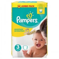 Pack 50 Couches Pampers Premium Protection taille 3 sur 123 Couches