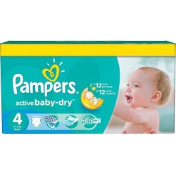 Pack 132 Couches Pampers Active Baby Dry taille 4 sur 123 Couches