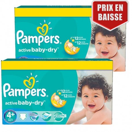 Maxi Pack 162 Couches Pampers Active Baby Dry taille 4+ sur 123 Couches