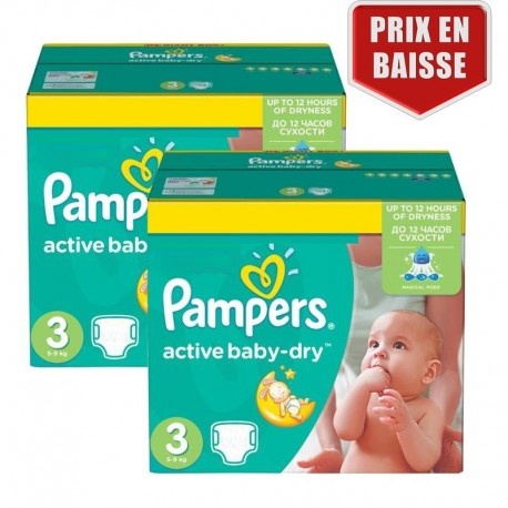 Giga Pack 410 Couches Pampers Active Baby Dry taille 3 sur 123 Couches