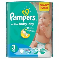 Pack 82 Couches Pampers Active Baby Dry taille 3