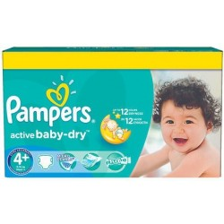Paquet 112 Couches Pampers Active Baby Dry taille 4+ sur 123 Couches