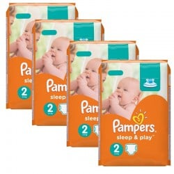 Giga pack 204 Couches Pampers Sleep & Play taille 2