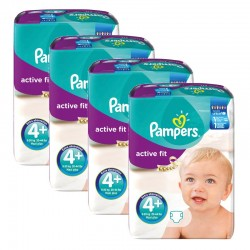 Maxi Giga pack 282 Couches Pampers Active Fit taille 4+ sur 123 Couches