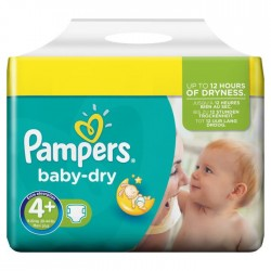 Pampers - 48 Couches Baby Dry taille 4+ sur 123 Couches