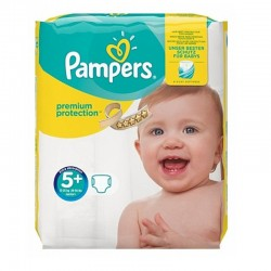 Pack 32 Couches Pampers Premium Protection - New Baby taille 5+
